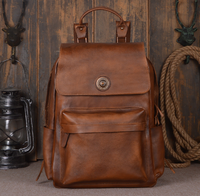 New Causal Wearproof Genuine Leather Male Backpacks College Large Capacity Shoulder Bag Vintage Travel Schoolbag C198