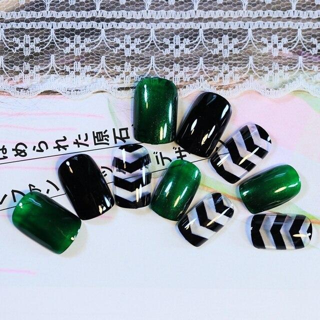 24 Stks Glas Groen Zwart Golf Valse Nail Art Tips Nail Art Druk Op