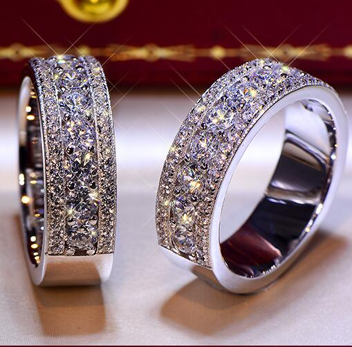 2018 Fashion Solid 925 Stelring Silver Wedding Engagement Anniversary Ring Band Jewelry Men Women Brithday Party Gift G color cherlamode 3pcs three color u convex pouch solid color men s band briefs