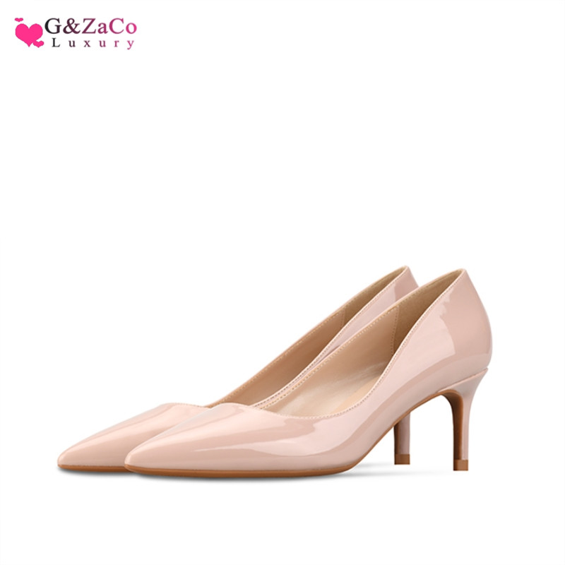 2019 New Autumn Pointed Patent Leather Pumps OL High-heeled Single Shoes Fashion Large Size Low Heeled Womens Shoes Heels