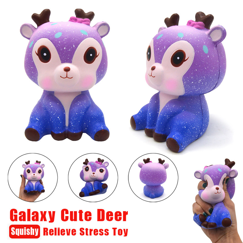 2018 Galaxy Cute Kawaii Cartooon 11 CM Deer Cream Scented Squeeze Squishy Strap Funny Gadgets Anti Stress Novelty Antistress Toy usb powered funny cute stress relieving humping spot dog toy brown chocolate white
