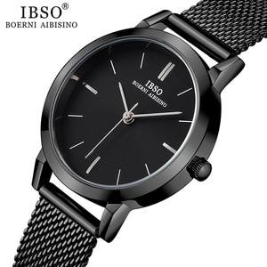Image 2 - Часы наручные IBSO женские кварцевые, модные ультратонкие с сетчатым браслетом из нержавеющей стали, простые