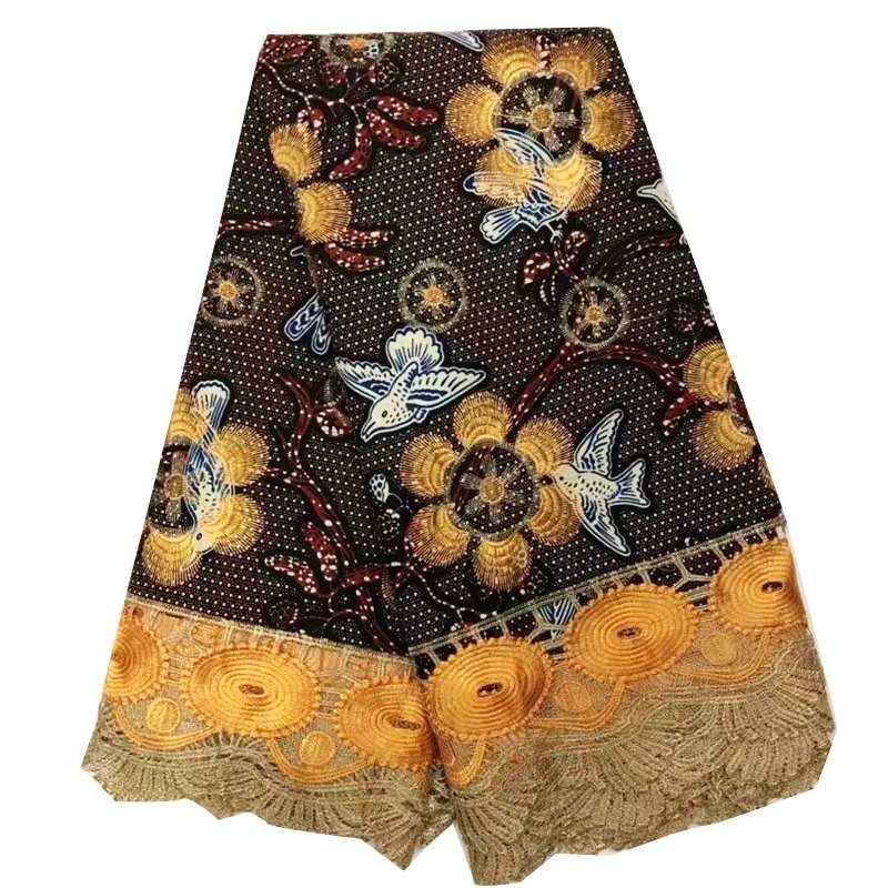 새로운 도착 아프리카 왁스 레이스 원단 멀티 컬러 디자인 나이지리아 자수 레이스 앙카라 왁스 원단 여성 파티 드레스 6 야드-에서직물부터 홈 & 가든 의  그룹 3