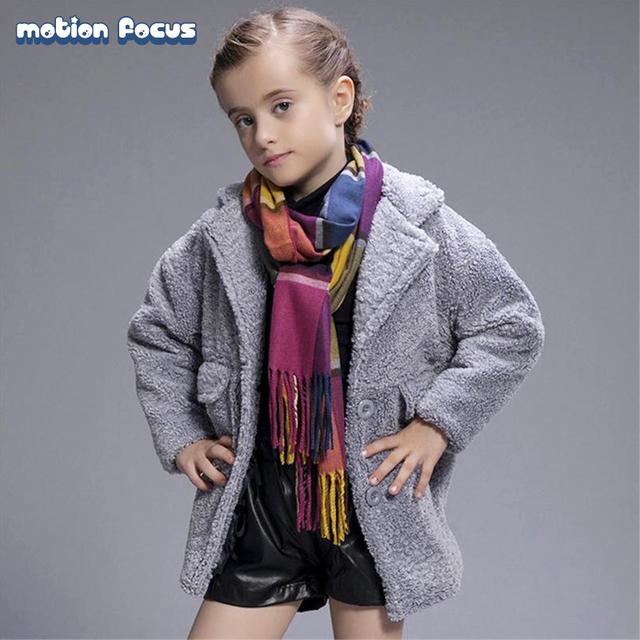 2016 Diseño de Moda Niña de Lana Chaqueta de Abrigo de Cachemir de Invierno de Niños Niñas Espesar Caliente De Lana Outwear Parker para 3-7años