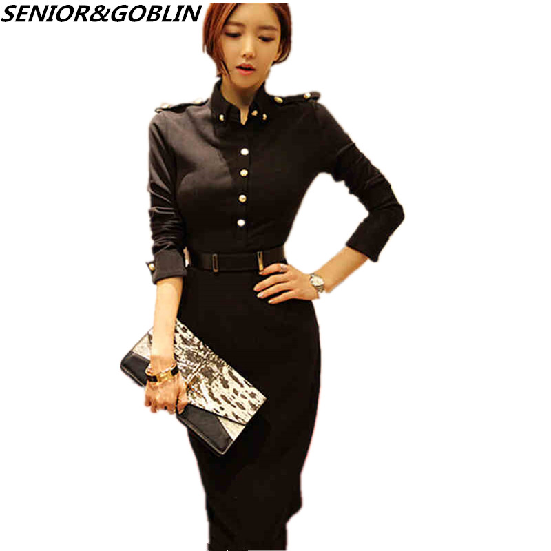 5aa0574383e58 High Quality Elegant Women Plus Size Party Midi Dresses 2018Autumn Korean  Style Long Sleeve Work Wear Bodycon Black Office Dress-in Dresses from ...