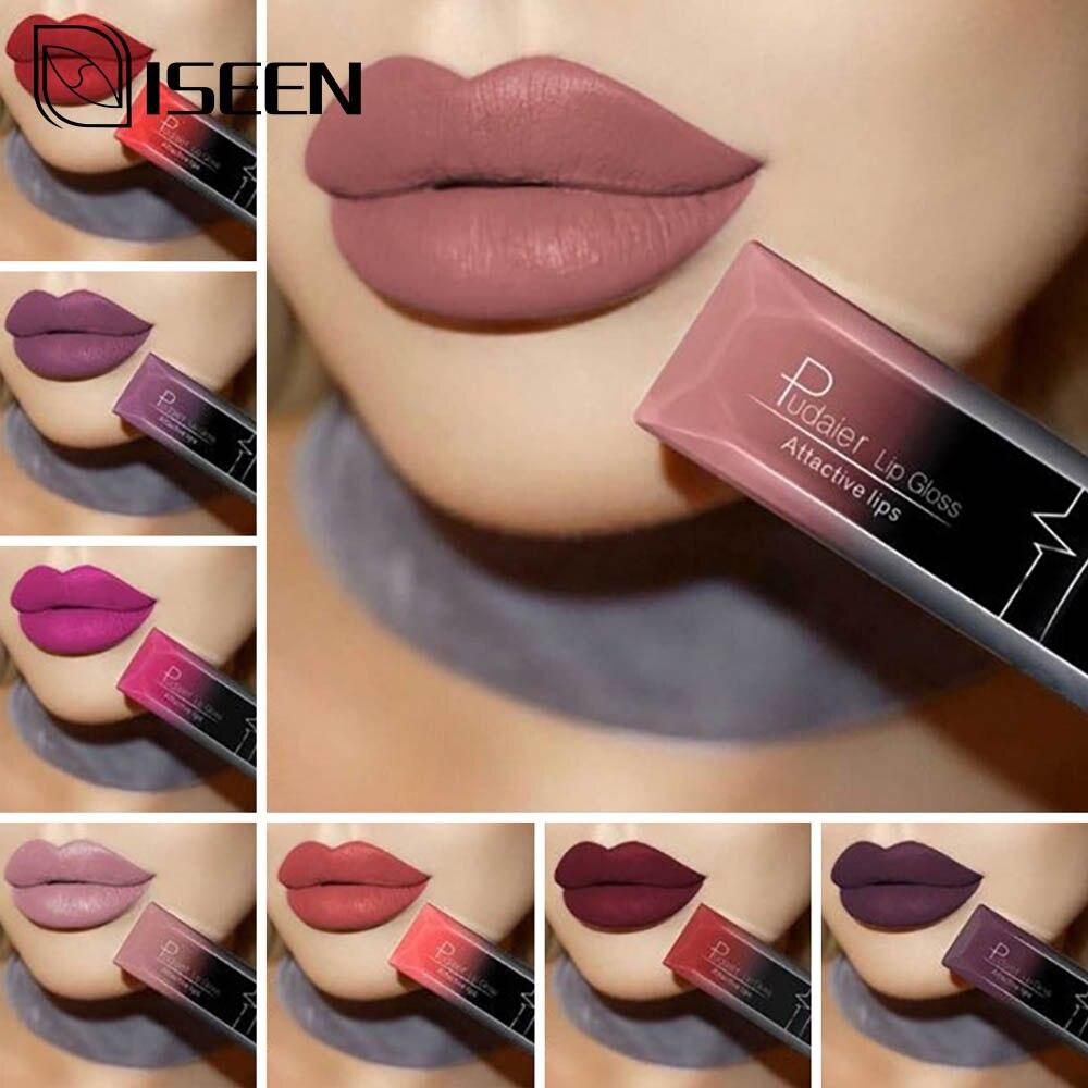 Sexy Matte Lip Gloss Lip Liner Pencil Professional Lipstick Non-Stick Cup Waterproof Lipstick Nude Lip Stick Matte Red Lip Long(China)