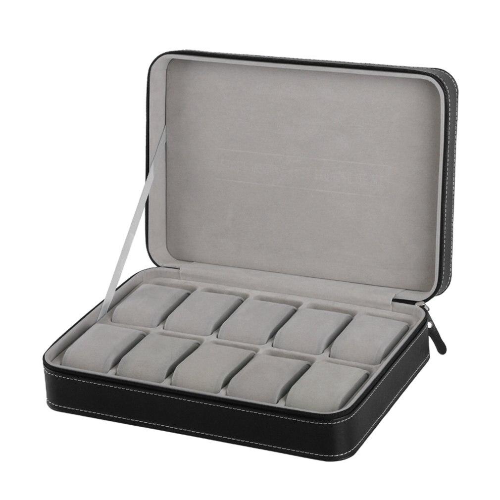 Travel Sport Protect 10 Grids PU Leather Wristwatch Box Case Classic Zipper Watch Jewelry Storage Bag Box