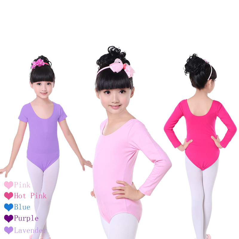 Children Kids Pink Cotton Short/Long Sleeve Leotard Clothes Girls Ballet Dance Gymnastics Dancewear