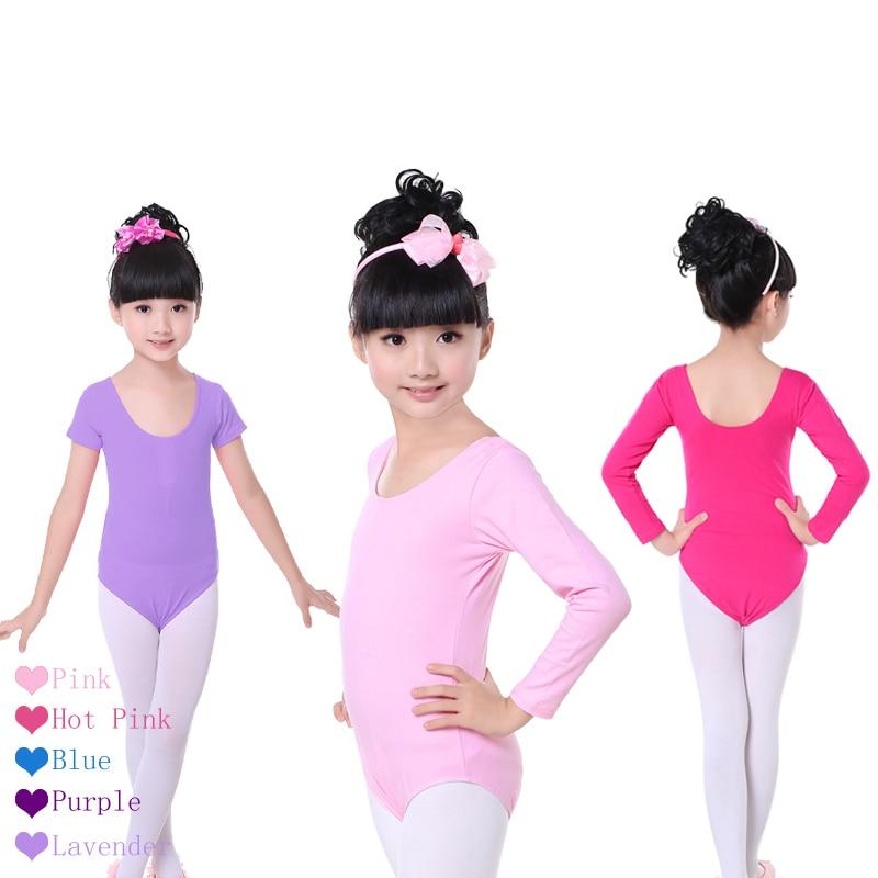 Children Kids Pink Cotton Short/Long Sleeve Leotard Clothes Girls Ballet Dance Gymnastics Dancewear