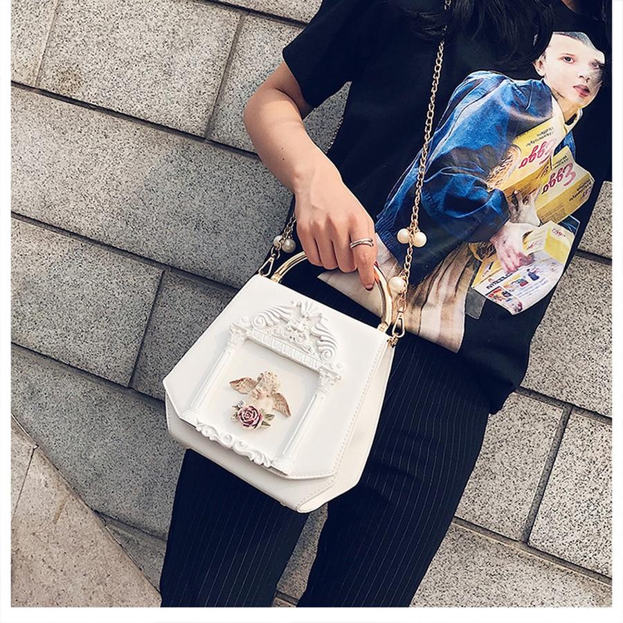 Retro Baroque Angel Embossed Women Handbags Designer Chains Crossbody Bags Ladies Luxury Pu Messenger Shoulder Bag Female Purse