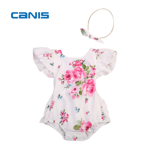 3d5ba9b2d2c2 2018 Floral Newborn Infant Baby Clothes Ruffles Back Strap Tutu Skirted Romper  Jumpsuit +Headband 2PCS Outfit Sunsuit Clothing