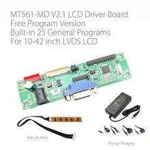Programa livre verison MT561 MD vga + dc lvds lcd placa de motorista geral para 10 42 polegada painel do monitor lcd com botão de 5 teclas e energia