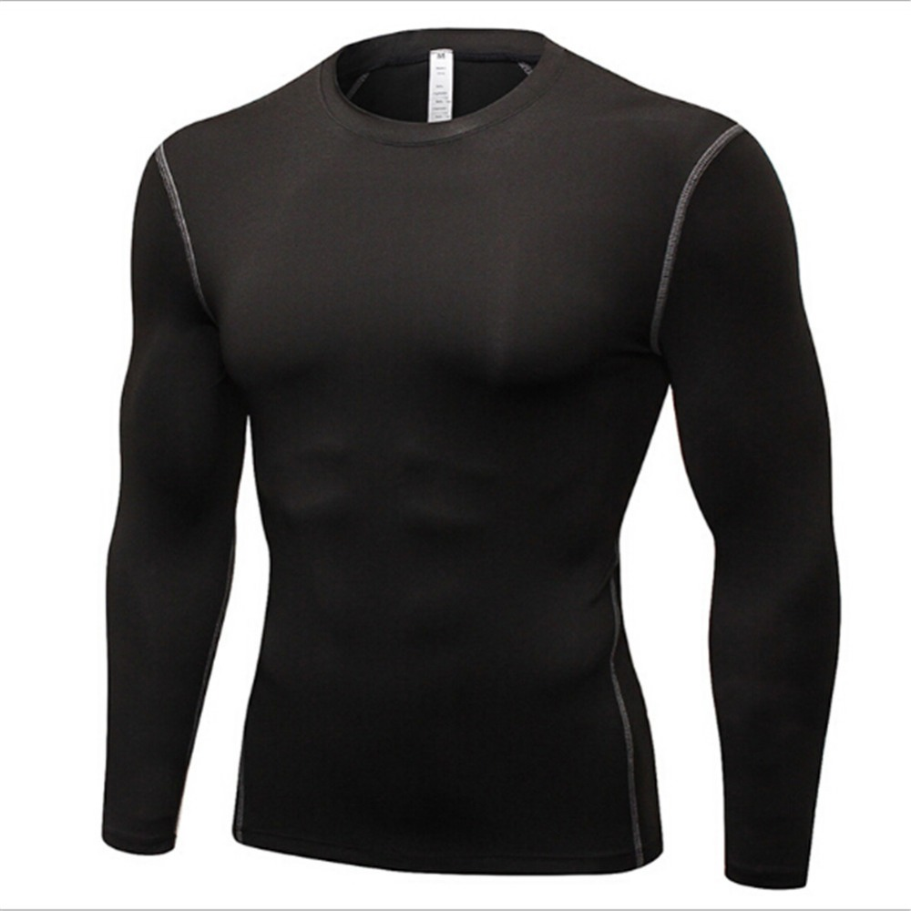 a684e2ddaf2  1019 Mens Boys Sports Gym Running Training Compression Base Layer Thermal Long  Sleeve Shirt Tops Skins Gear 7Colors Size S-3XL