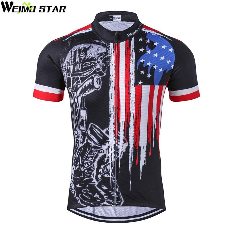 Weimostar 2018 camiseta de ciclismo transpirable Racing Sport USA ropa de ciclismo corto mtb camiseta de bicicleta ropa de ciclismo de secado rápido
