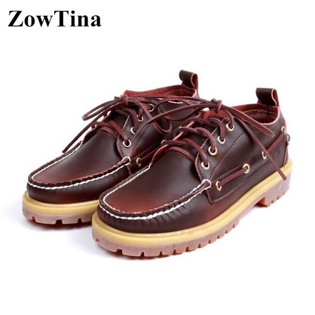 5f1b62dbb ZowTina Men Leather Casual Shoes Lace Up Boat Shoes Vintage Fashion Sapato  Masculino Size 46 Tenis Ankle Boots for Men Moccasins