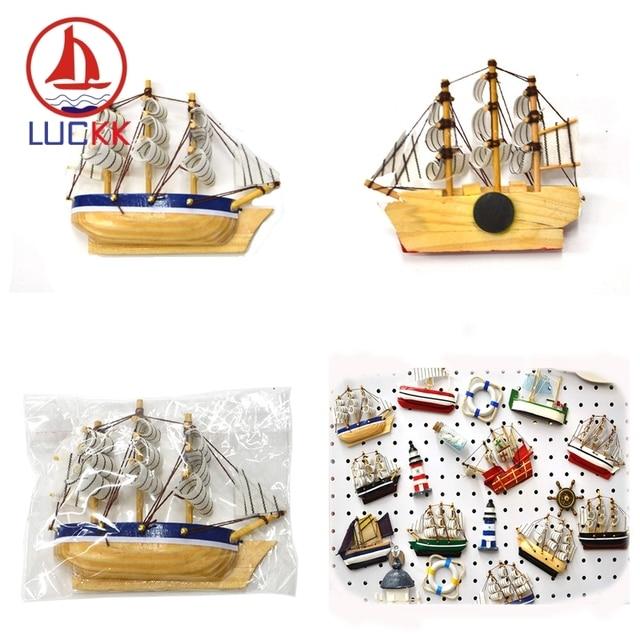 LUCKK 10CM Mediterranean Creative sailboat Firdge Magnets Wooden Model Ships sea crafts Home decor refrigerators Kitchen Sticker 6