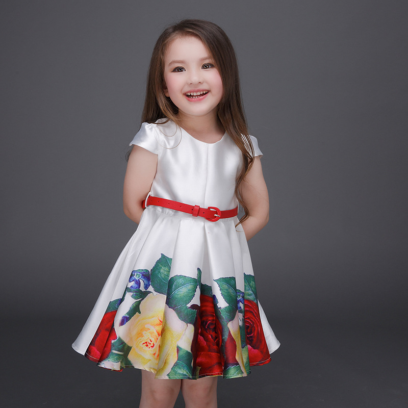 2017 New Europe Style Flower Print Girls Dresses With Red Sash Retail Baby Girl Clothes for kids children Girls Costumes 2017 new style europe