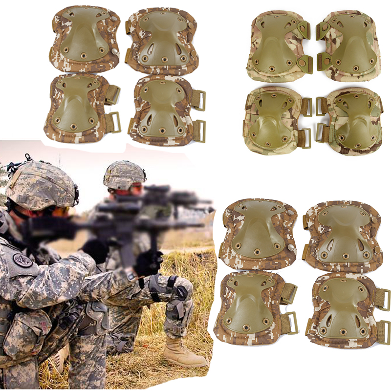 Military Tactical Protection Elbow & Knee Pads Set Sports Safety Hunting Shooting Pads Outdoor CS Paintball High Quality Protect 7pcs xiaomi skating cycling helmet knee pads elbow wrist brace set