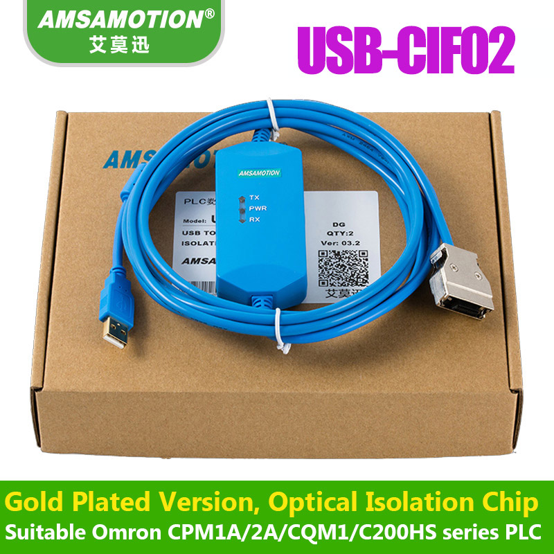 Suitable Omron PLC Programming Cable Communication CPM1A/2A/CQM1 Data Download line USB-CIF02+ original plc download cable communication programming cable conversion serial port usb uc prg020 12a