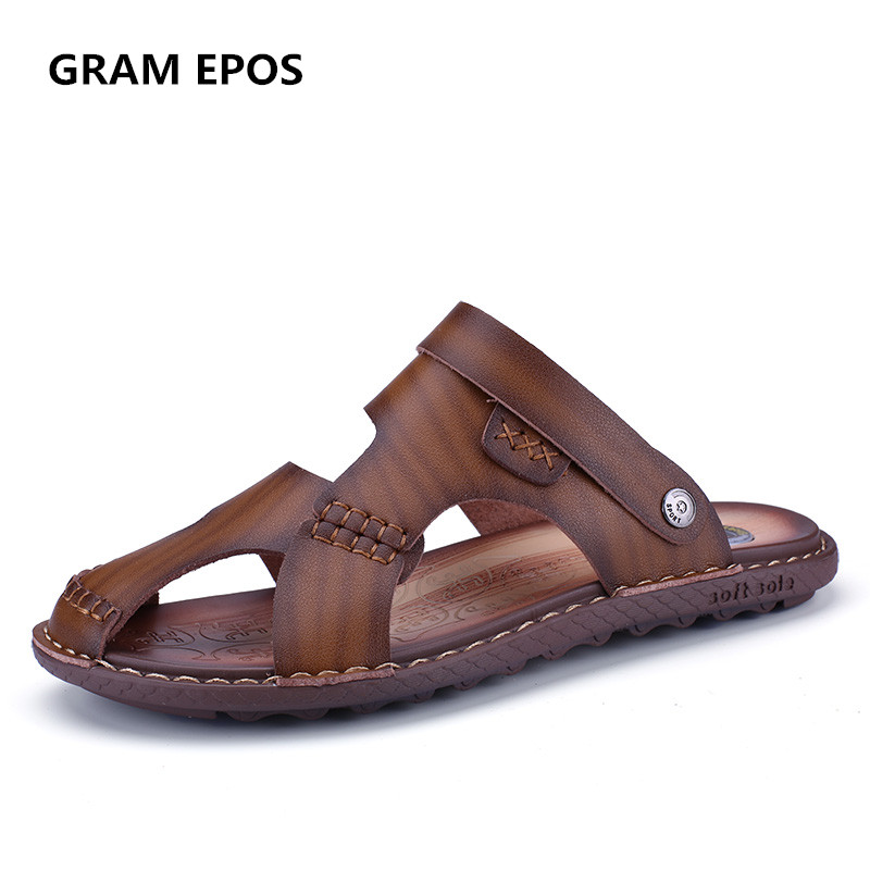 GRAM EPOS Men Sandals 2018 Genuine Leather Fisherman Shoes Summer Casual Outdoor Sandals Fashion Male hand woven slides