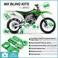 08 09 10 11 12 13 14 15 Зеленый ЧПУ Новый MX Мотокросс Bling наборы Kit для Kawasaki KX-F 250 450 KX250F KX450F KXF KLX 450 АЛЮМИНИЕВЫЙ СПЛАВ