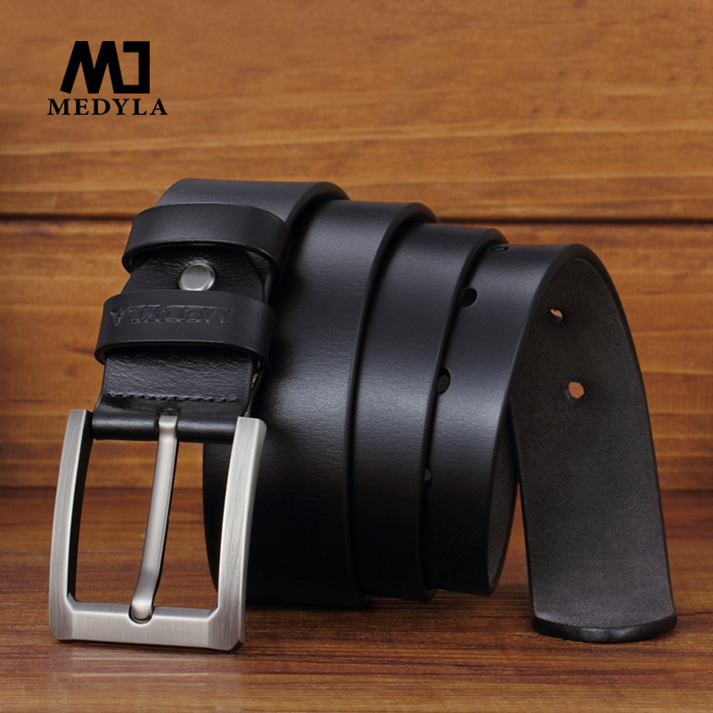 MEDYLA New Cow Genuine Leather Brand Strap Male Belts Luxury Design For Men Classice Vintage Belt Pin Buckle Cowskin Waistband
