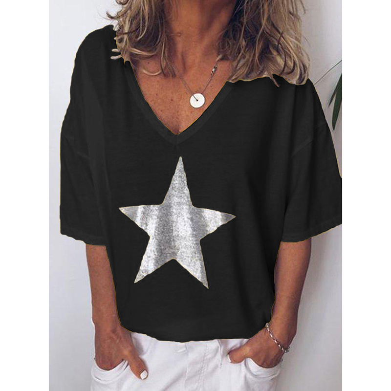Plus Size S-5XL Women V Neck Sexy Printed Stars Loose Casual Short Sleeve T-shirt Ladies Clothing Bottoming Top Tees SJ2437E