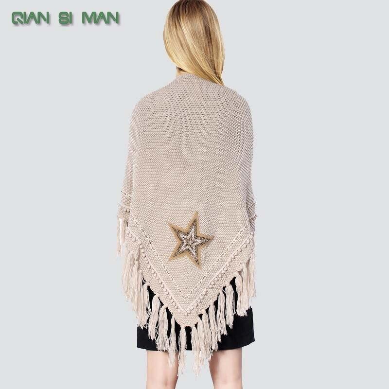 01 inicio de color Beige Crochet bufanda chal triángulo franja ...