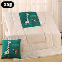 Edredón de algodón multifuncional de dibujos animados manta portátil plegable cuadrado almohada de tiro para el hogar de la Oficina del coche colcha de aire acondicionado 45*45
