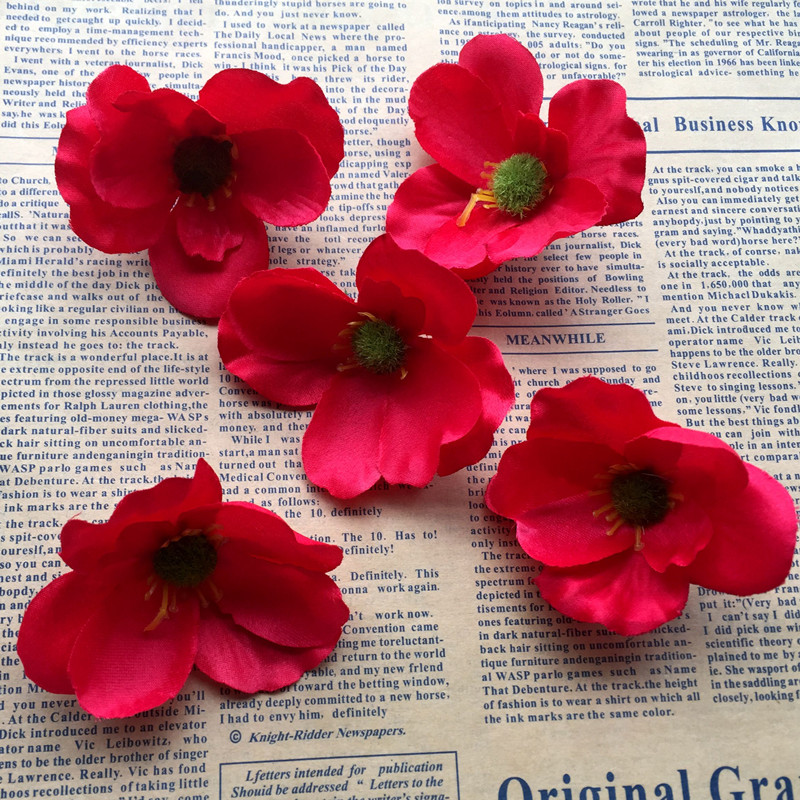 100pcs 7cm Silk Poppy Flower Heads Imitation Flowers For Diy Hair