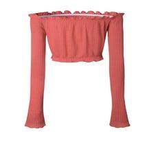 Sexy Off the Shoulder Tops for Women T Shirt Female 2017 Autumn Winter Fashion Long Petal Sleeve Crop Top Tees Cotton T-Shirt