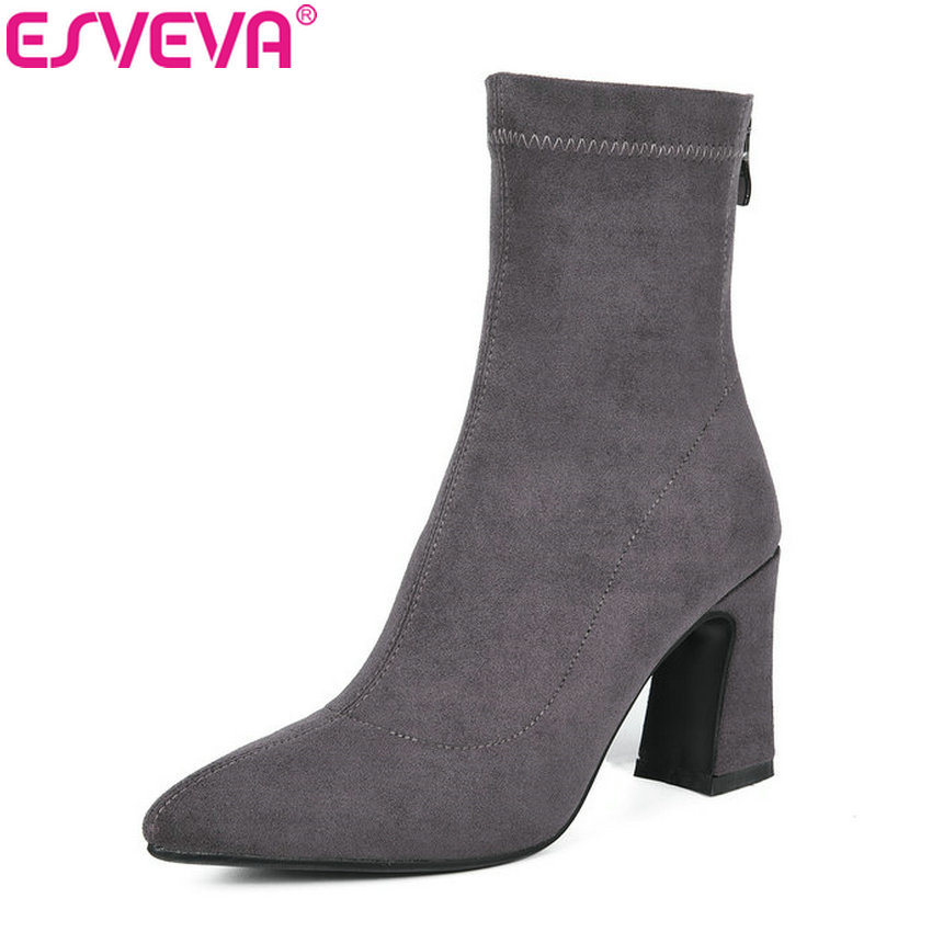 ESVEVA 2019 Women Boots Cow Suede Elegant Autumn Shoes Zip Ankle Boots Pointed Toe Square High Heels Woman Shoes Size 34-39 esveva 2018 women boots cow leather suede out door buckle square high heels ankle boots pointed toe warm fur boots size 34 39
