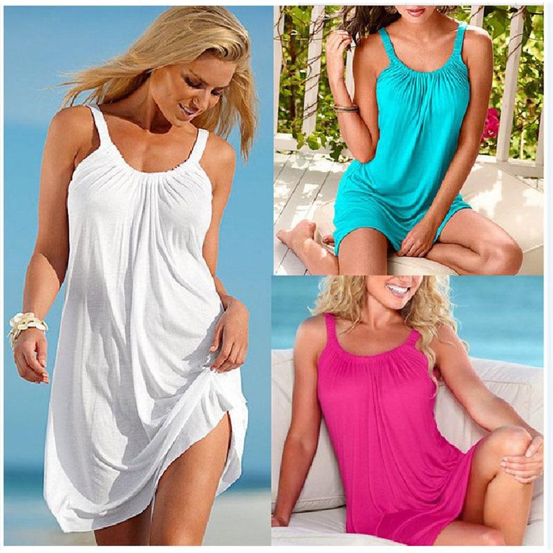 Plus Size L-XL 2019 Summer Women New large size women's loose strap dress casual beach dress vestidos de fiesta de noche C0486