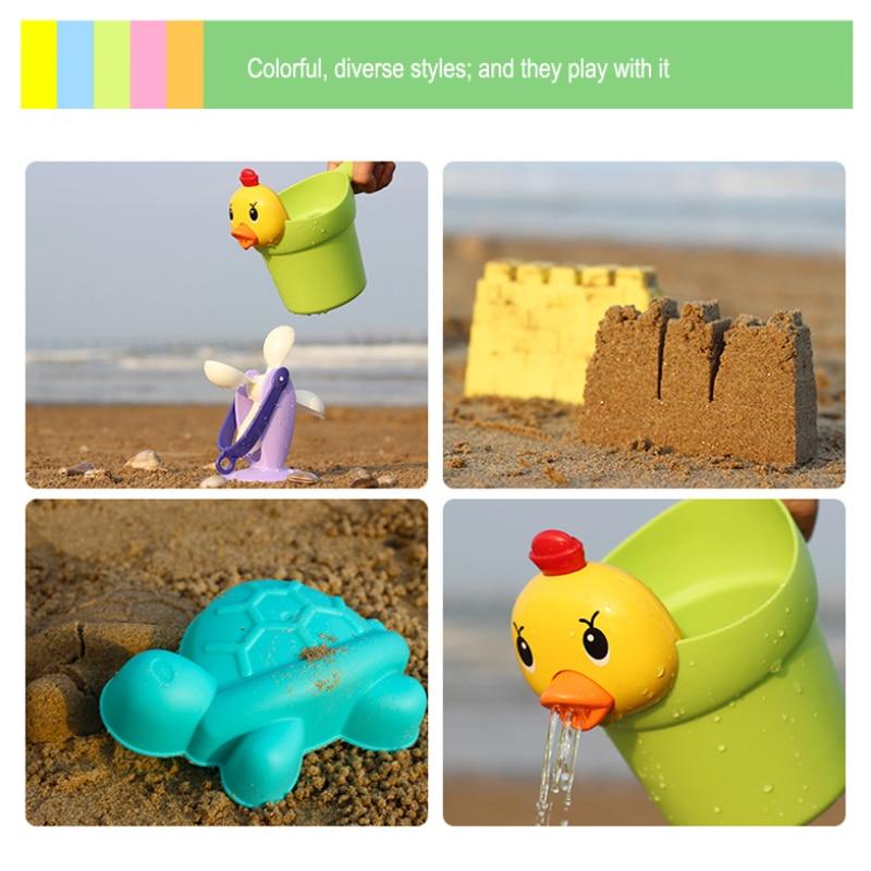 NEW Kids Beach Sand Toys Set Kids Outdoor Toys Beach Bucket Beach Shovel Tool Kit Sandbox Toys for Toddlers Flexible Glue PVC 4