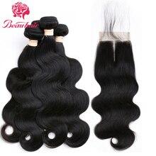 Brazilian 4 Bundles Body Wave With Closure Beauhair Weave Bundle Non Remy Human Hair Bundle With Closure