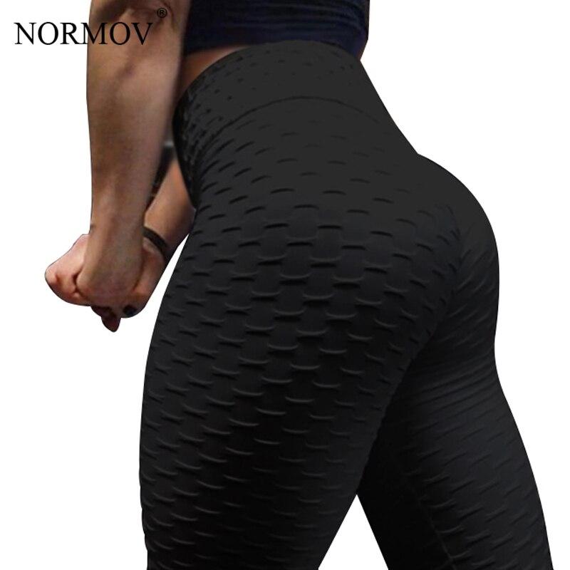 NORMOV для женщин Push Up леггинсы для высокая Талия классические мотобрюки женский тренировки Леггинсы фитнес-одежда однотонные дышащие 6 цвет