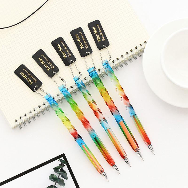 Coréen 0.38mm Transparent arc-en-ciel couleur Kawaii Gel stylo créatif diamant tête en plastique stylos d'écriture pour enfants cadeau papeterie