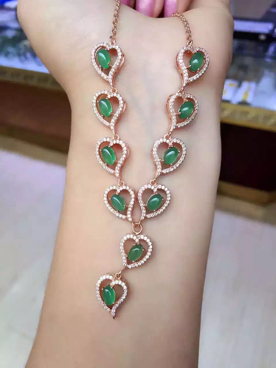 Natural green chalcedony Necklace Natural gemstone Pendant Necklace 925 sliver women Luxury trendy Heart Peach women Jewelry trendy solid color heart pendant necklace for women