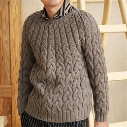 100% hand made pure wool thick twisted knit men fashion Oneck solid slim H-straight pullover sweater one&over size