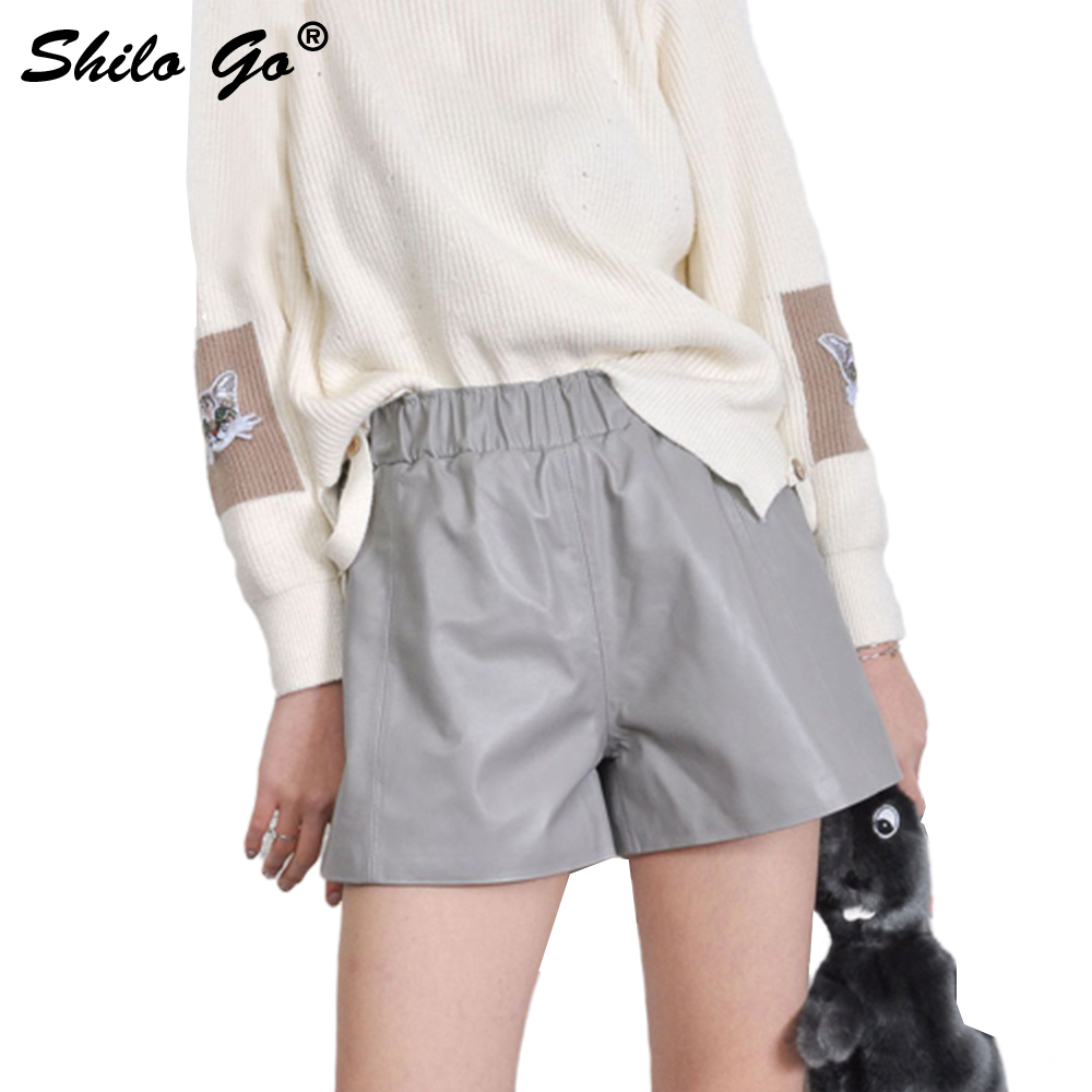Leather Shorts Womens Spring Fashion Sheepskin Genuine Leather Shorts Tie Stretch High Waist Colors Wide Leg Shorts