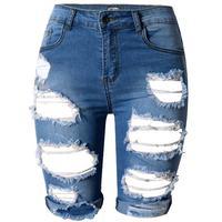 Summer high waist Women's Pencil Shorts Hole Denims Short skinny Jean Short Fashion plus size 34 46