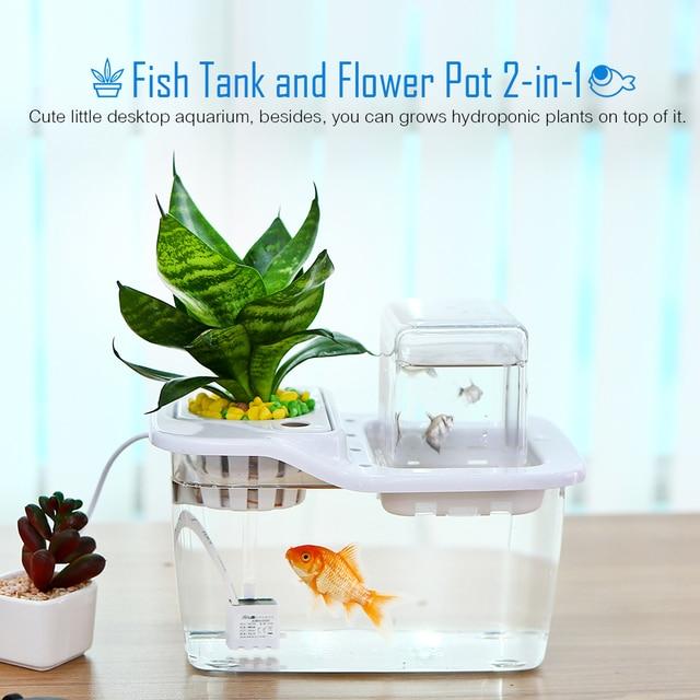 Mini Aquaponics Ecosystem Hydroponics Fish Tank Water Garden