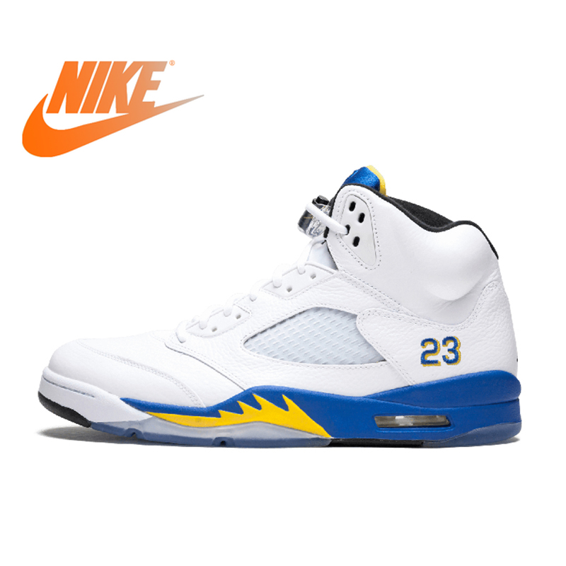 US $114.92 46% OFF|Original Authentic Nike Air Jordan 5 Retro Laney Men's Breathable Basketball Shoes Sport Outdoor Sneakers 2018 New Arrival in