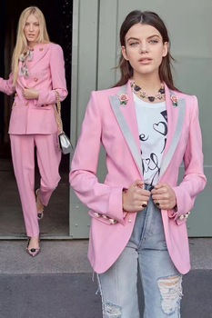 European style rose buttons blazers coat New 2018 spring autumn pink jackets Fashion women jackets coat D039 coin mow ww 1 d039