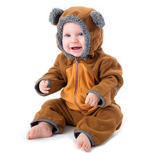 Baby Rompers Boys Clothes Newborn Cartoon Pajamas Warm Winter Animal Ears Coral Fleece Hoodies Girls Roupas Bebe Infant Jumpsuit(China)