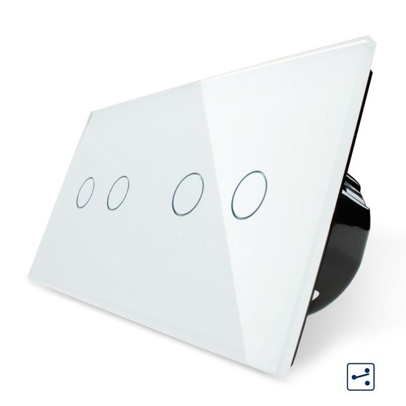 Livolo, Norme UE 4 Gang 2 Voies Interrupteur Tactile De Panneau de Verre Trempé, maison Interrupteur Mural, VL-C702S/702S-1/3