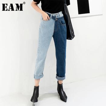 [EAM] nowa wiosna 2020 moda wysokiej talii Patchwork hit kolorowy odpinany niebieskie dżinsy proste spodnie dżinsowe kobiet SC08 tanie i dobre opinie COTTON Kostki długości spodnie Wysoka Przycisk fly Streetwear Zmiękczania REGULAR light SC08605S 2018 summer