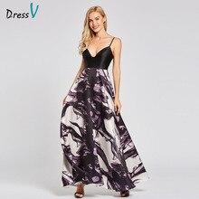Dressv black long evening dress cheap spaghetti straps sleeveless a line empire wedding party formal dress evening dresses