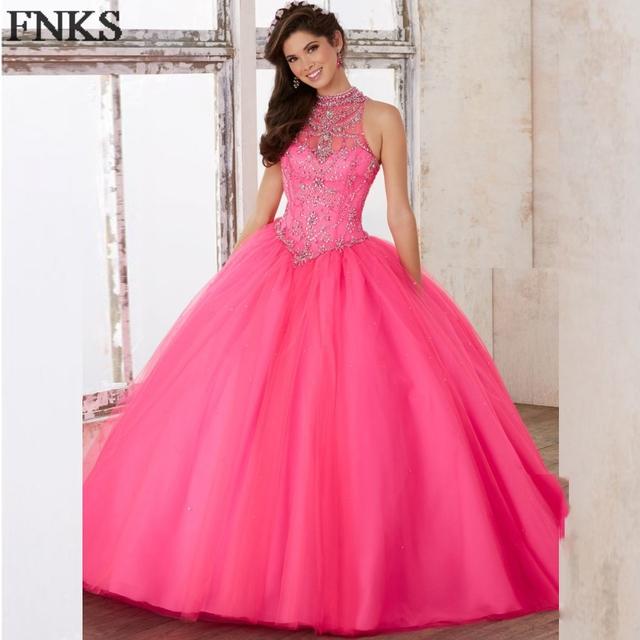 Vestidos de quinceanera Vestidos Quinceanera Do Vintage Azul Cristal Frisado Gola Alta Rosa Quente Estréia vestido de Baile Prom Party Vestido QD29