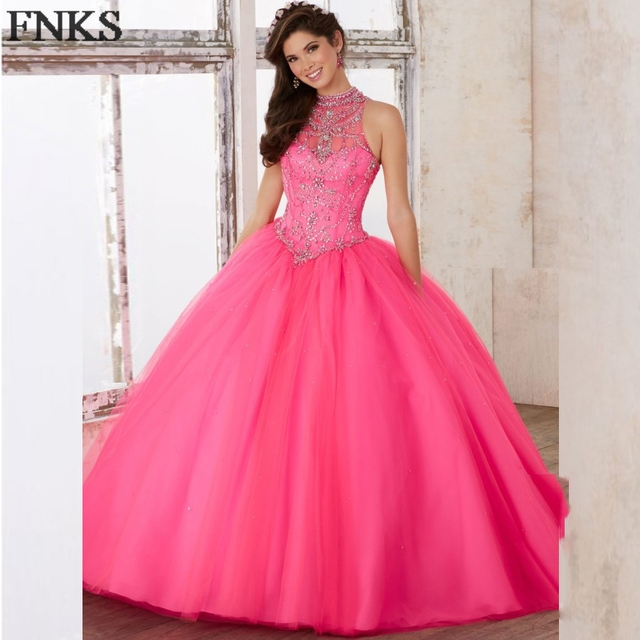 a9be10435e Vestidos de quinceanera Vintage Quinceanera Dresses Blue Crystal Beaded  High Neck Hot Pink Debut Ball Gown